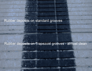 Rubber deposits Trapezoid Grooves